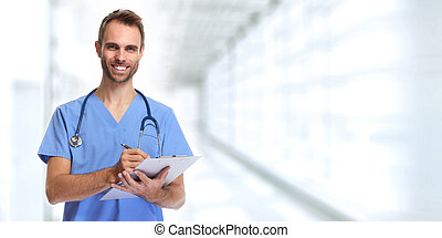 Doctor nurse. - Doctor surgeon man over blue medical clinic...