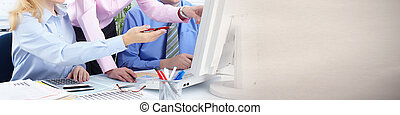 Business team. - Hands of business people group working in...