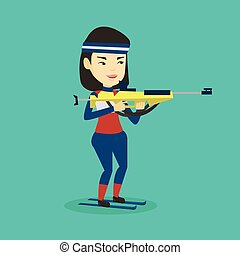 Cheerful biathlon runner aiming at the target. - Young asian...