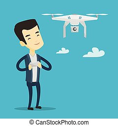 Man flying drone vector illustration. - Young asian man...