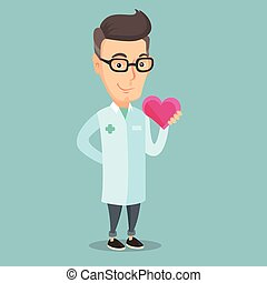 Doctor cardiologist holding heart. - Cardiologist in medical...