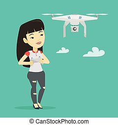 Woman flying drone vector illustration. - Young asian woman...