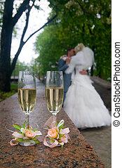 bröllop, glasögon