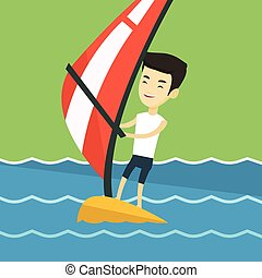 Young man windsurfing in the sea. - Asian man windsurfing at...