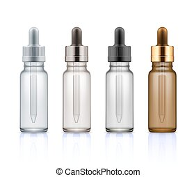 Cosmetic glass bottles with dropper. - Set of realistic...