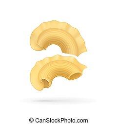 Pasta creste di gallo icon. Traditional wheat product of...