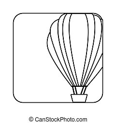 square silhouette button with contour hot air balloon