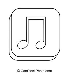 square silhouette button with contour musical note vector...