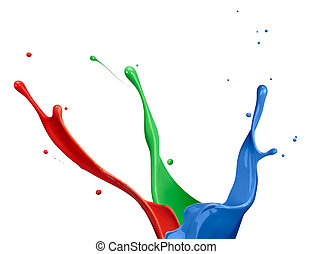 RGB Paint Splash - paint splash of RGB colors on white...