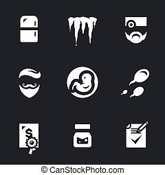 Vector Icons Set of Reproduction Bank. - Refrigerator, ice,...