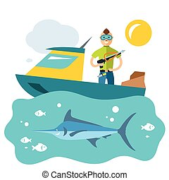 Vector Spearfishing. Fishing. Flat style colorful Cartoon...