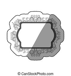 sticker gray scale oval rectangle heraldic baroque frame...