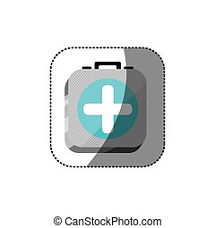 sticker color square 3d button with first aid kit