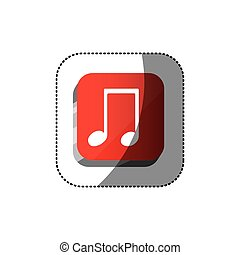 sticker color square 3d button with musical note vector...