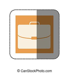 color sticker square with executive suitcase icon