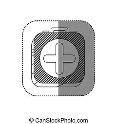 sticker square silhouette button with contour first aid kit