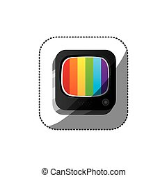 sticker color square 3d button with rainbows screen old television