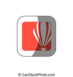sticker color square button with contour hot air balloon