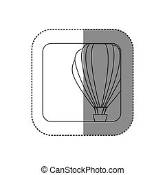 sticker square silhouette button with contour hot air balloon