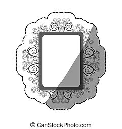 sticker gray scale square vintage baroque frame vector...