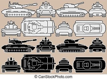 Military Equipment. Set of Armored Battle Tanks. Isolated...