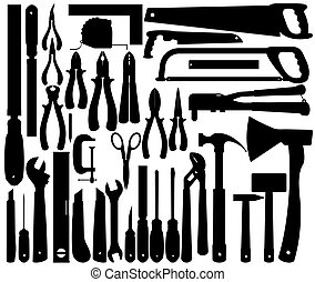 Silhouettes of Work Tools, Instruments. Vector Clip Art
