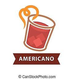 Americano cocktail in glass with straw isolated on white -...