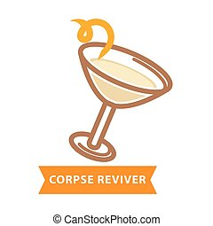 Corpse reviver cocktail with bend straw isolated on white -...