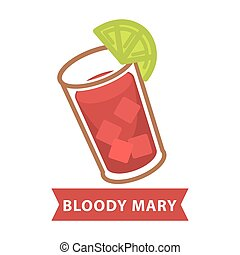 Bloody Mary with ice and slice of lime in glass - Bloody...