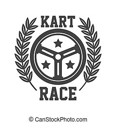 Kart race logotype with steering wheel isolated on white -...