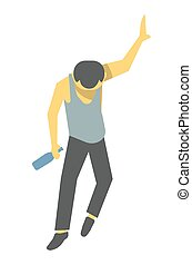Drunk person illustration. Barely standing male cartoon...