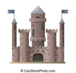 Dark brown cartoon medieval castle with high towers with flags
