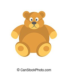 Cartoon chubby brown bear with funny face isolated on white...