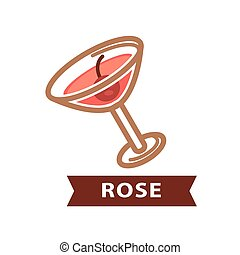 Alcohol drink Rose decorated with red berry isolated on white.