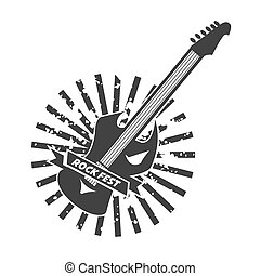Rock fest logotype with colorless guitar on white - Rock...