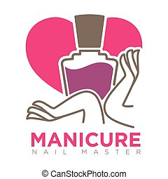 Manicure logotype with female hands holding nail polish