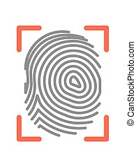 Fingerprint sign isolated on white flat vector illustration...