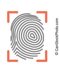 Fingerprint sign isolated on white flat vector illustration...