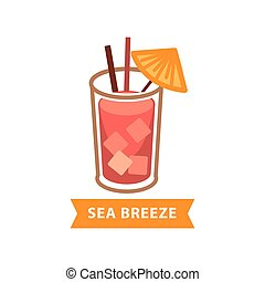 Popular cocktail Sea Breeze with ice cubes and drinking straws