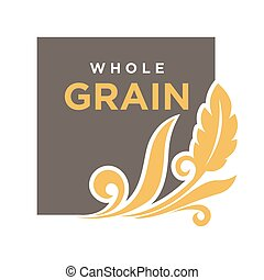 Whole grainemblem ear of wheat ecology symbol isolated -...