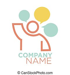 Graphic logo human figure and thought signs on white -...