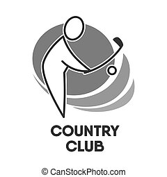 Golf country club logo colorless template on white. Vector...