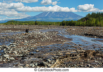 View of the volcano Ostry Tolbachik from river Studenaya....