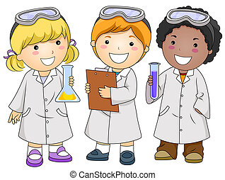 Lab Kids - A Small Group of Kids Conducting a Laboratory...
