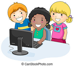 Computer Kids - A Small Group of Kids Using a Computer