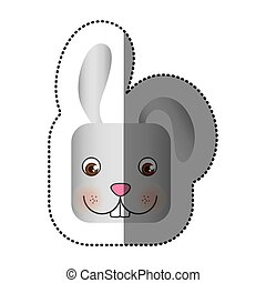 colorful face sticker of rabbit in square shape vector...