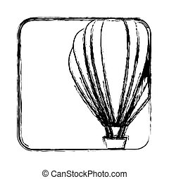 monochrome sketch with hot air balloon in square frame