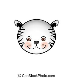 colorful picture face cute tiger animal