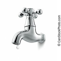 tap - leaking water tap isolated on white background