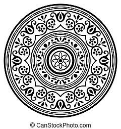 Vector - Round decorative black ornament